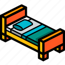 bed, bedroom, furniture, household, single icon