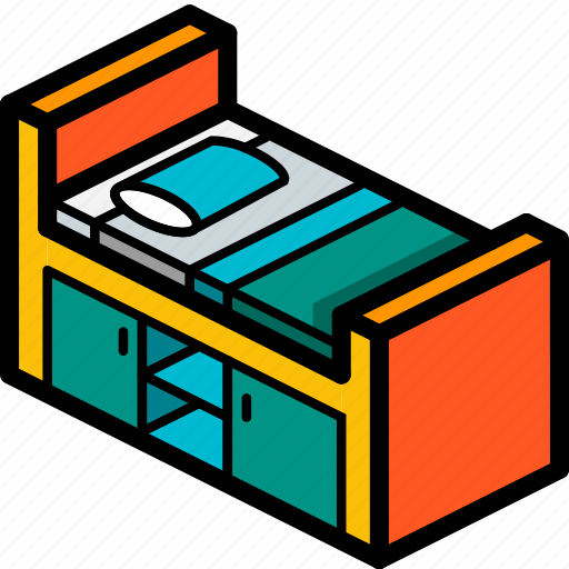 bed, bedroom, cabin, furniture, household, iso icon