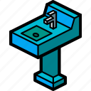 bathroom, furniture, household, iso, sink icon