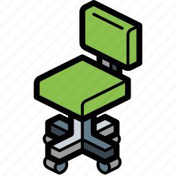 chair, furniture, iso, office icon