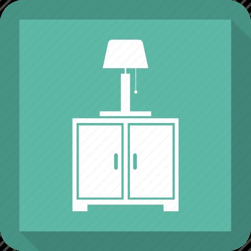 bedroom, furniture, interior, lamp, nightstand icon