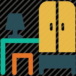 cupboard, furniture, lamp, stool, table icon