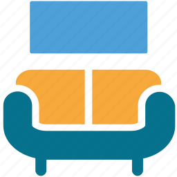 couch, furniture, lcd, living room icon