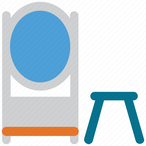 looking mirror, mirror, reflect, small stool icon