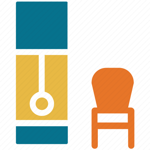 chair, furniture, grandfather clock, interior icon