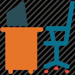 chair, computer, desk, work corner icon
