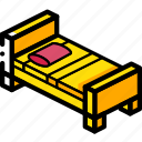 bed, bedroom, furniture, household, iso, single icon