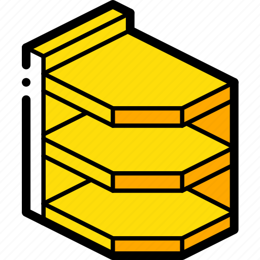 Corner, furniture, iso, shelves, yellow icon - Download on Iconfinder