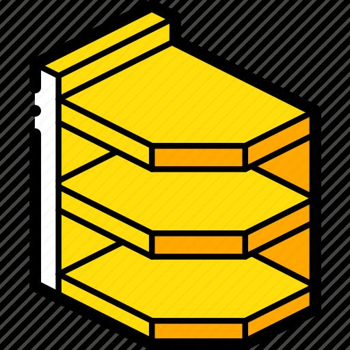 corner, furniture, iso, shelves, yellow icon