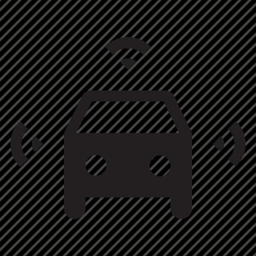 autonomous, car, driverless, self driving, smart, transportation, wifi icon