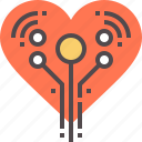 artificial, cyber, electronic, heart icon