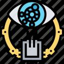 bionic, eye, robotic, vision, nanochip icon