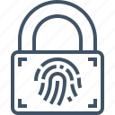 fingerprint, identity, lock, padlock, protection, security icon