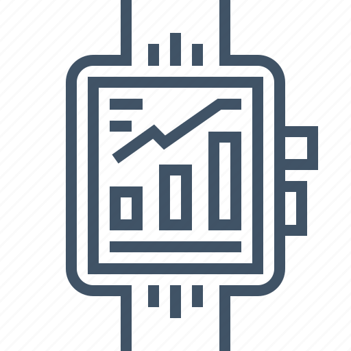 analytic, bar, chart, graph, smartwatch icon