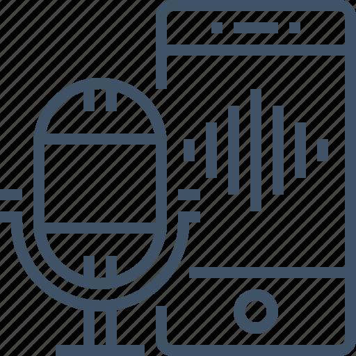 control, microphone, smartphone, sound, voice icon