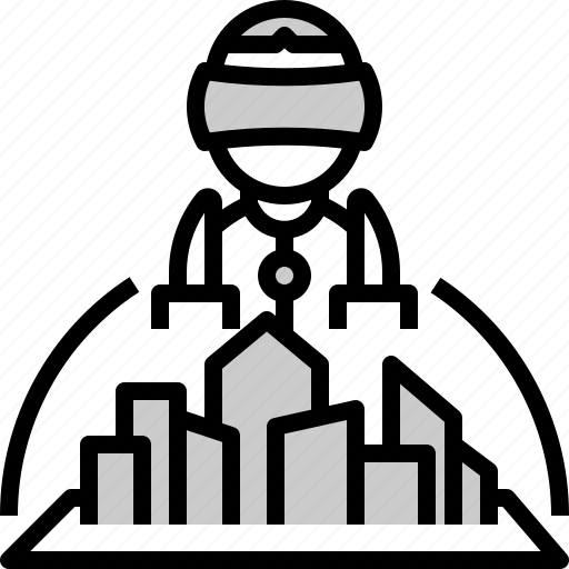 architect, architecture, building, city, hologram, simulation, smart icon