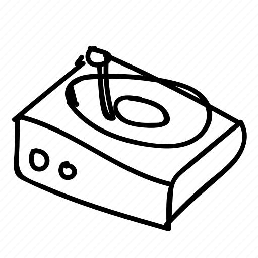 doodle, drawing, electronics, gadget, hand drawn, music, turntable icon