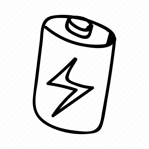 battery, doodle, drawing, electronics, gadget, hand drawn icon