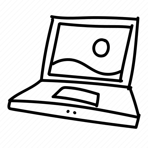 computer, doodle, drawing, electronics, gadget, hand drawn, laptop icon