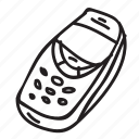 doodle, drawing, electronics, gadget, hand drawn, phone, retro icon