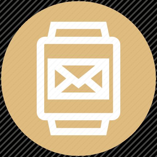 email, envelope, gadget, message, smart watch, watch icon