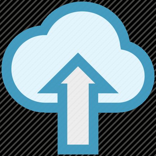 arrow, cloud, data, storage, up, up arrow, upload icon