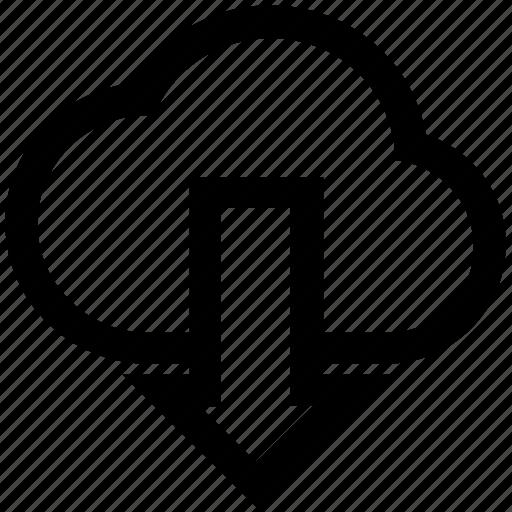arrow, cloud, data, down, down arrow, download, storage icon