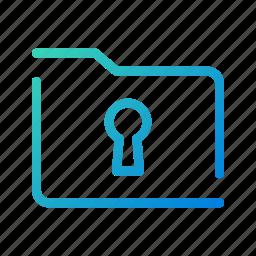 encrypted, folder, locked, mobile, open line, secure, ui icon