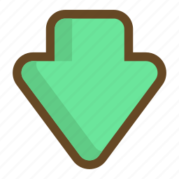 arrow, direction, down, download, downward, player icon