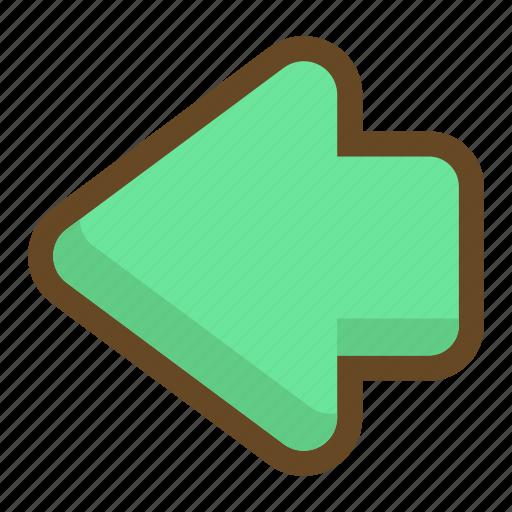 arrow, back, backward, direction, left, player, previous icon