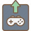 development, game, upload, video game icon