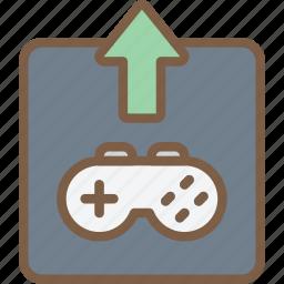 development, game, upload, video game icon