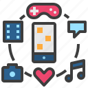 application, entertainment, innovation, smartphone, technology icon