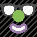 clown, emoji, emoticon, face, mask