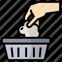 bin, garbage, hand, litter, rubbish, trash