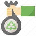 and, bag, ecology, environment, recycle, recycling, wiping icon