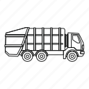 dump, dumper, garbage truck, heavy, logo, outline, truck icon