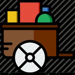 cart, flower, garden, plant, soil icon