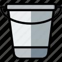 bucket, flower, garden, plant, soil icon