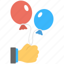balloons, blue balloon, holding balloons, red balloon, two balloons icon