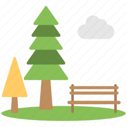beautiful view, clouds, green point, trees, wooden bench icon