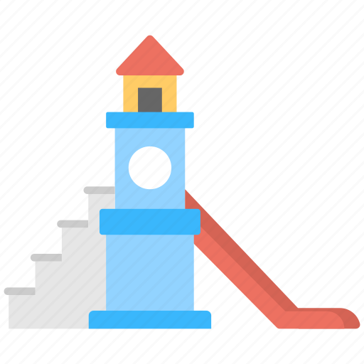 kids house, play house, playing, slides, swing icon