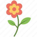 flower, flower stem, green leaves, leaves, red flower icon