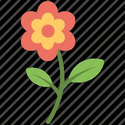 flower, flower stem, green leaves, leaves, red flower icon
