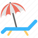 beach, beach chair, beach view, relaxing, umbrella icon