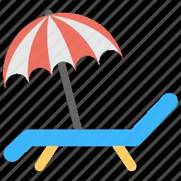 beach, beach chair, beach view, relaxing, umbrella icon