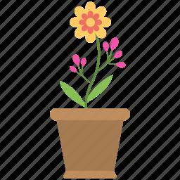 colors, flower pot, flowers, pot, soil icon