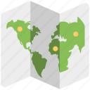 flat icon, map, paper, world map, zigzag icon