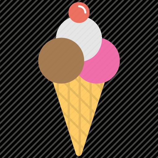 cone icecream, ice cream, icon, tutti frutti icon