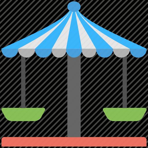 carousel swing, circular swings, flat icon, ropes, swing icon